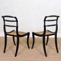 10 Regency Harlequin Ebonised Dining Chairs Bergere Cane Seats (15 of 15)