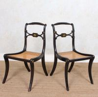 10 Regency Harlequin Ebonised Dining Chairs Bergere Cane Seats (10 of 15)