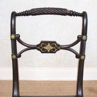 10 Regency Harlequin Ebonised Dining Chairs Bergere Cane Seats (12 of 15)