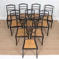 10 Regency Harlequin Ebonised Dining Chairs Bergere Cane Seats (2 of 15)