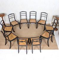 10 Regency Harlequin Ebonised Dining Chairs Bergere Cane Seats (4 of 15)