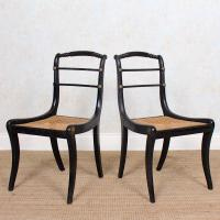 10 Regency Harlequin Ebonised Dining Chairs Bergere Cane Seats (7 of 15)