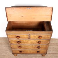 Linen Chest of Drawers Painted Simulated Oak Pine 19th Century (4 of 12)