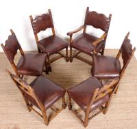6 Arts & Crafts Oak Leather Dining Chairs 19th Century (6 of 9)