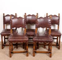 6 Arts & Crafts Oak Leather Dining Chairs 19th Century (3 of 9)