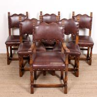 6 Arts & Crafts Oak Leather Dining Chairs 19th Century (2 of 9)