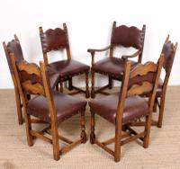 6 Arts & Crafts Oak Leather Dining Chairs 19th Century (5 of 9)