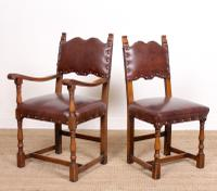 6 Arts & Crafts Oak Leather Dining Chairs 19th Century (7 of 9)