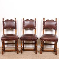 6 Arts & Crafts Oak Leather Dining Chairs 19th Century (4 of 9)