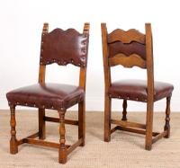 6 Arts & Crafts Oak Leather Dining Chairs 19th Century (9 of 9)