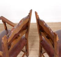 6 Arts & Crafts Oak Leather Dining Chairs 19th Century (8 of 9)