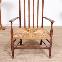 Oak Armchair Rushwork Seated Chair 19th Century (3 of 12)