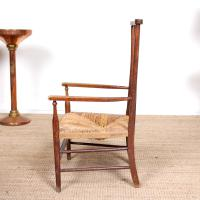Oak Armchair Rushwork Seated Chair 19th Century (8 of 12)