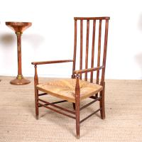 Oak Armchair Rushwork Seated Chair 19th Century (7 of 12)