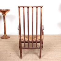 Oak Armchair Rushwork Seated Chair 19th Century (11 of 12)