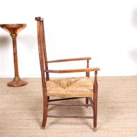 Oak Armchair Rushwork Seated Chair 19th Century (12 of 12)