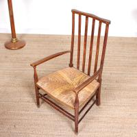 Oak Armchair Rushwork Seated Chair 19th Century (6 of 12)