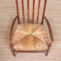Oak Armchair Rushwork Seated Chair 19th Century (4 of 12)