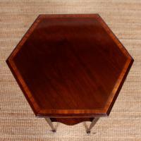 Arts & Crafts Hexagonal Side Table 19th Century Inlaid Mahogany (2 of 8)