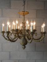 Solid Cast Brass Gilded 2 Tier 8 Arm Chandelier c.1890