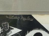 "Stunning Original Scraperboard Picture ""Milneburg Jazz Band"" New Orleans Signed ""B.G.Short"" 1964 (2 of 8)"