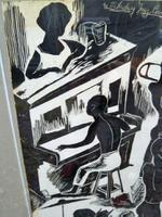 "Stunning Original Scraperboard Picture ""Milneburg Jazz Band"" New Orleans Signed ""B.G.Short"" 1964 (8 of 8)"