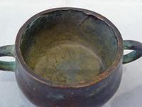 Late 19th Century Qing Dynasty Chinese Miniature Bronze Censer - Signed (2 of 6)