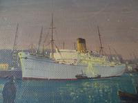 """Fine Mid Century Oil on Board """"Shipping Scene"""" by R.E.Hyett - 1950s (3 of 6)"""