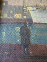 """Fine Mid Century Oil on Board """"Shipping Scene"""" by R.E.Hyett - 1950s (4 of 6)"""