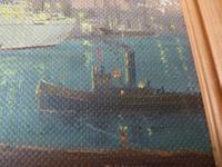 """Fine Mid Century Oil on Board """"Shipping Scene"""" by R.E.Hyett - 1950s (5 of 6)"""
