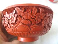 Vintage Mid Century Chinese Cinnabar Lacquer Bowl (7 of 7)