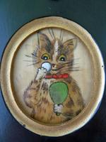 Excellent Early 20th Century Miniature Painting on Silk of a Cat - attributed to Louis Wain (2 of 3)