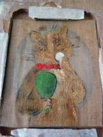 Excellent Early 20th Century Miniature Painting on Silk of a Cat - attributed to Louis Wain (3 of 3)