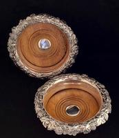 Pair of Silver Plated Mid  19th Century Wine Bottle Coasters