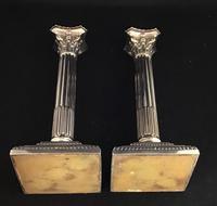 Victorian Silver Plated Corinthian Column Candlesticks (5 of 7)
