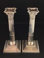 Victorian Silver Plated Corinthian Column Candlesticks (2 of 7)
