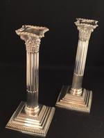 Victorian Silver Plated Corinthian Column Candlesticks (6 of 7)
