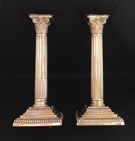 Victorian Silver Plated Corinthian Column Candlesticks (3 of 7)