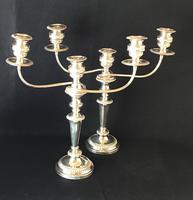 Large Silver Plated Three Branch Candleabra (2 of 4)