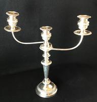 Large Silver Plated Three Branch Candleabra (3 of 4)