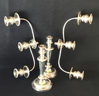 Large Silver Plated Three Branch Candleabra (4 of 4)