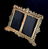 Victorian Brass Double Easel  Photo Frame