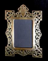 Victorian Brass Reticulated Easel Photo Frame