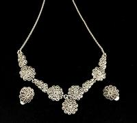 Silver & Marcasite Necklace with Matching Earrings (2 of 4)
