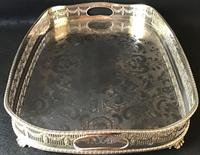 Large Chased Silver Plated Gallery Butlers Tray (2 of 4)