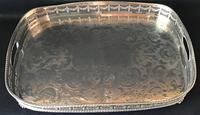 Large Chased Silver Plated Gallery Butlers Tray
