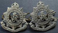 WWII Pair of King George V North Somerset Yeomanry Officers Collar Badges