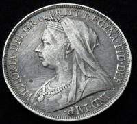 1896 Queen Victoria Veiled Head Silver Crown Coin (2 of 2)