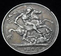 1892 Queen Victoria Jubilee Head Silver Crown High Grade Coin (2 of 2)