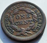 1853 United States of America Large Matron Head Copper Cent High Grade Coin (2 of 2)